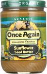 Once Again: Organic Sunflower Seed Butter Unsweetened & Salt Free, 16 Oz