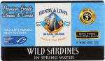 Henry & Lisa's: Natural Seafood Wild Sardines In Spring Water, 4.25 Oz
